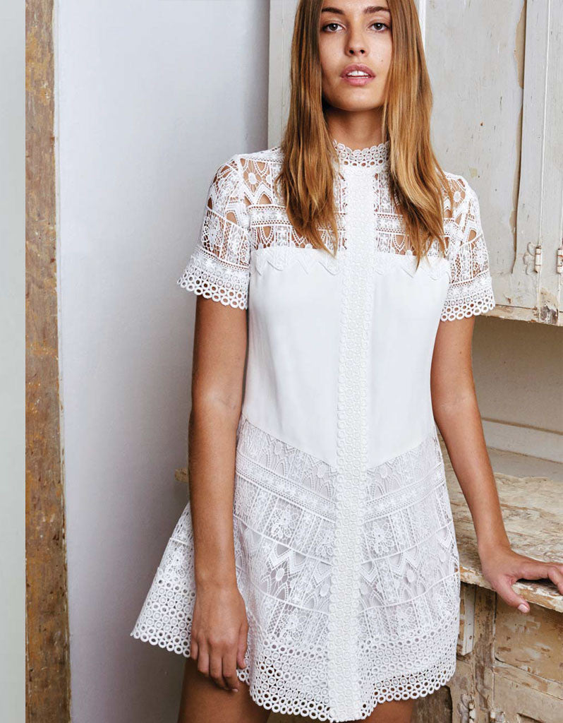 Alexis Katlin Short Dress in White Lace - SWANK - Tops - 1