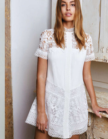 Alexis Katlin Short Dress in White Lace