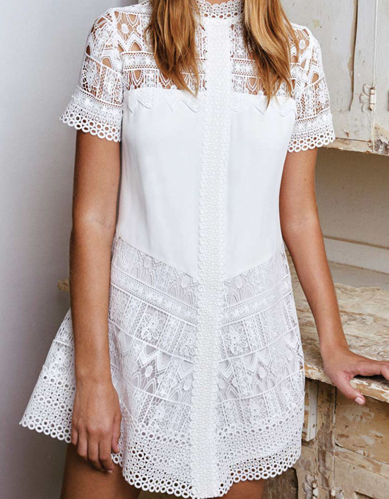Alexis Katlin Short Dress in White Lace - SWANK - Tops - 2