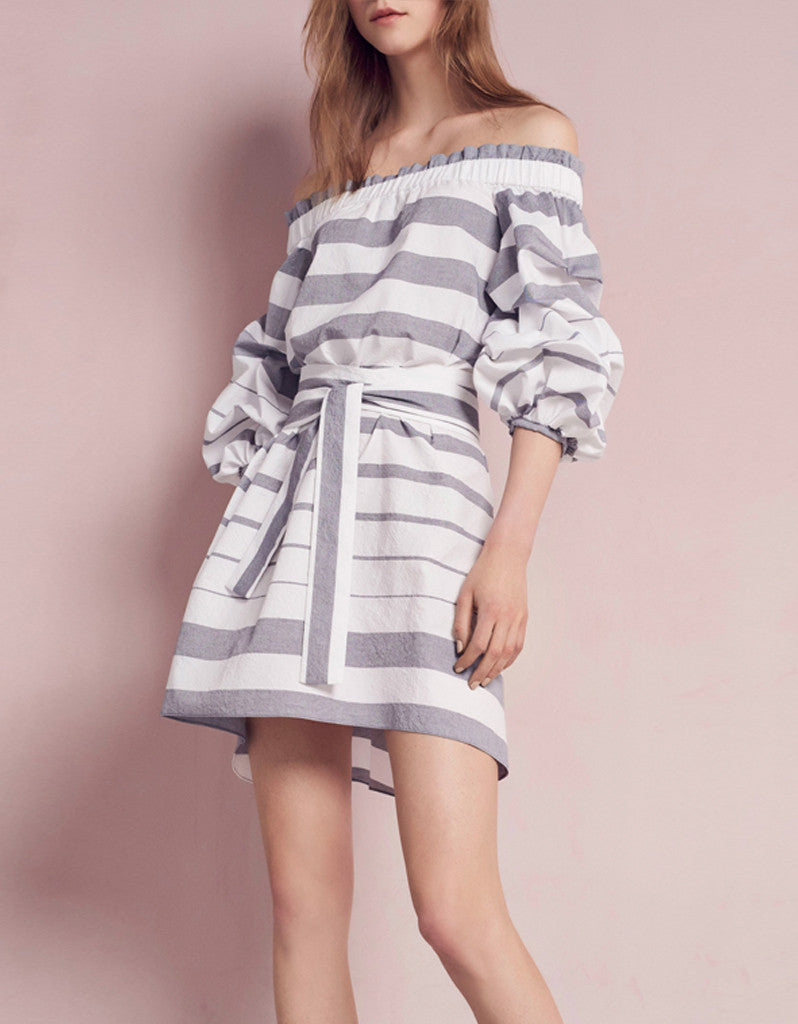 Alexis Olevetti Off The Shoulder Dress in Blue/White Stripes
