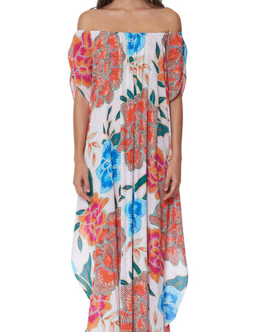 Mara Hoffman Arcadia Off the Shoulder Dashiki Dress in White/Pink
