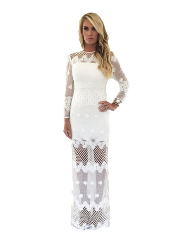 Alexis Axelle Long Dress in White Embroidery