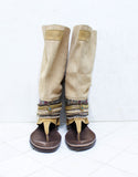 Custom Made Boho High Boot Sandals in Beige | SIZE 41 - SWANK - Shoes - 4