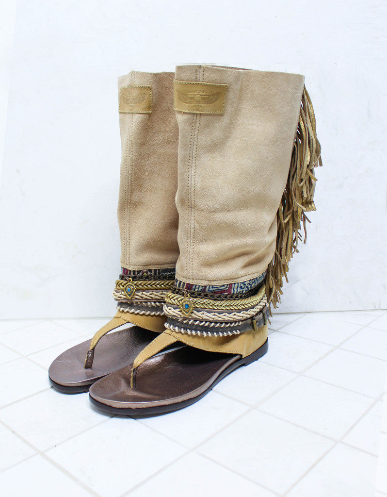 Custom Made Boho High Boot Sandals in Beige | SIZE 41 - SWANK - Shoes - 2