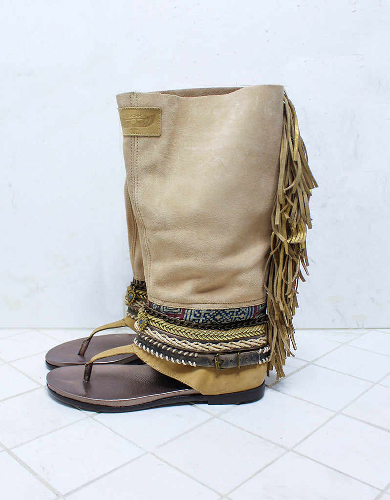 Custom Made Boho High Boot Sandals in Beige | SIZE 41 - SWANK - Shoes - 5