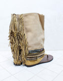 Custom Made Boho High Boot Sandals in Beige | SIZE 41 - SWANK - Shoes - 3