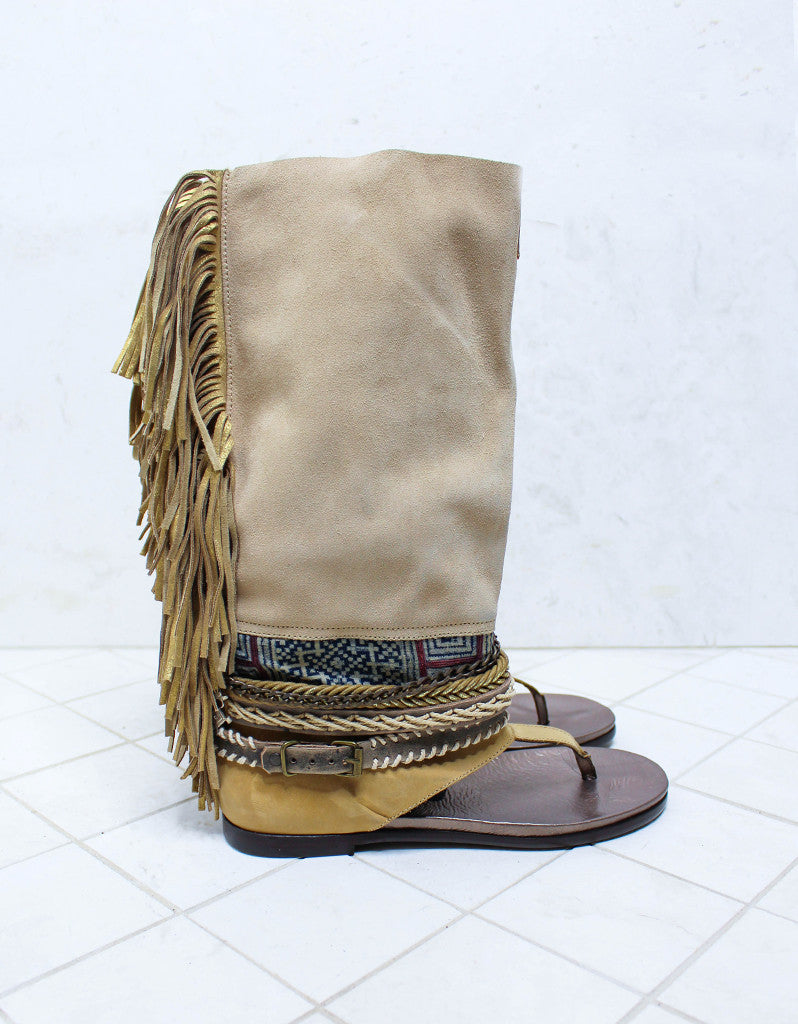 Custom Made Boho High Boot Sandals in Beige | SIZE 41 - SWANK - Shoes - 1