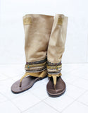 Custom Made Boho High Boot Sandals in Beige | SIZE 41 - SWANK - Shoes - 6