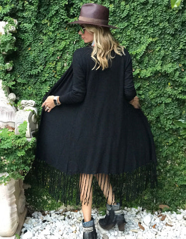 Zella Fringe Duster Cardigan in Black