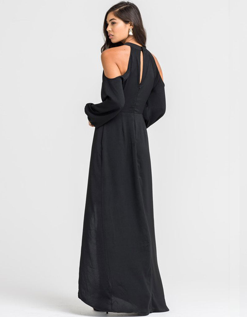 Portia Open Hi-Low Jumpsuit in Black
