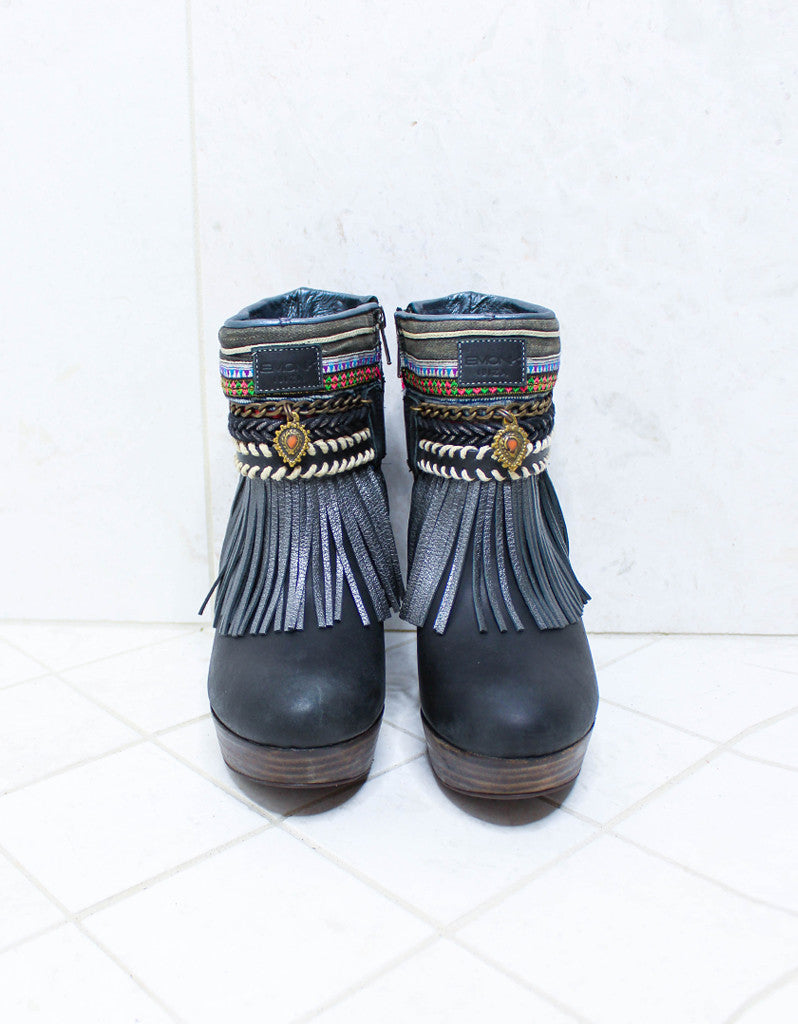 Custom Made High Heel Boho Boots in Black | SIZE 38 - SWANK - Shoes - 3