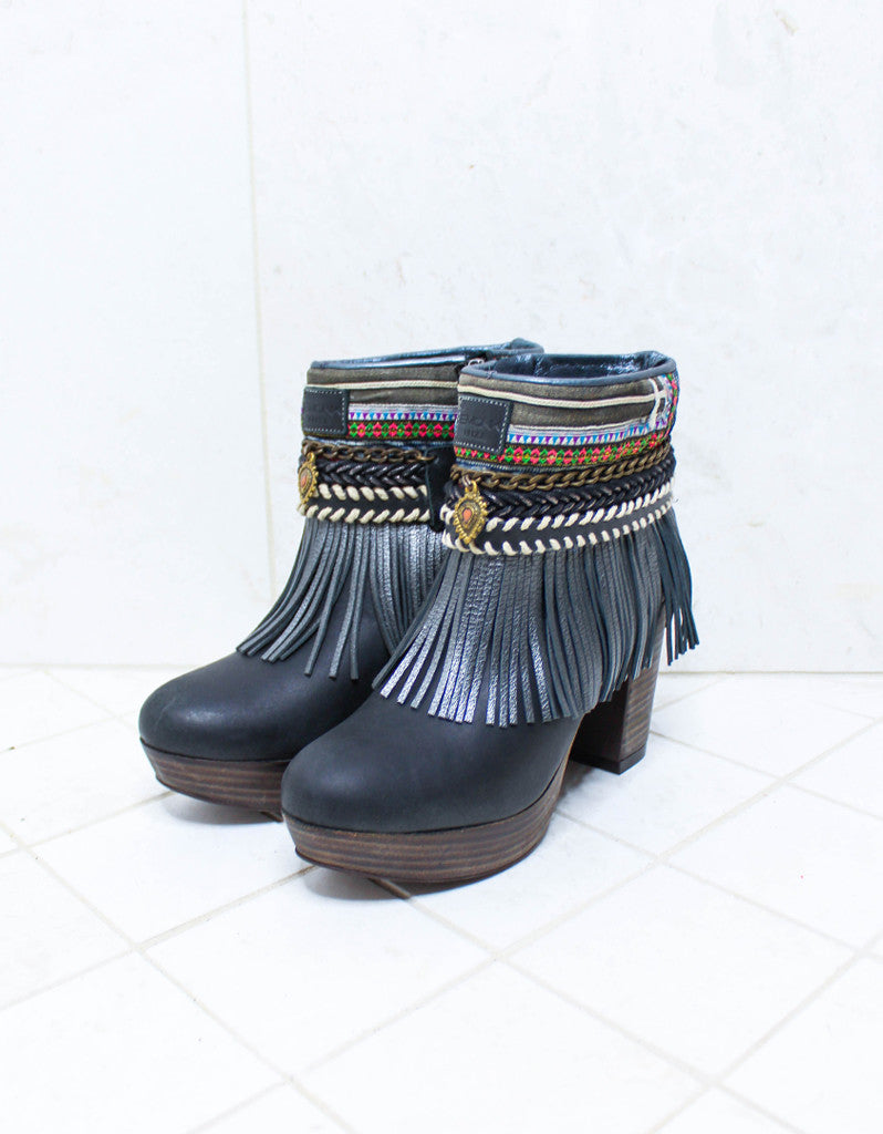 Custom Made High Heel Boho Boots in Black | SIZE 38 - SWANK - Shoes - 4