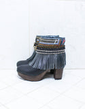 Custom Made High Heel Boho Boots in Black | SIZE 40 - SWANK - Shoes - 5
