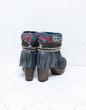 Custom Made High Heel Boho Boots in Black | SIZE 40 - SWANK - Shoes - 7