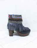 Custom Made High Heel Boho Boots in Black | SIZE 40 - SWANK - Shoes - 1