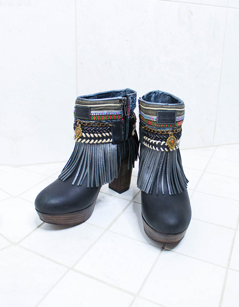 Custom Made High Heel Boho Boots in Black | SIZE 38 - SWANK - Shoes - 2