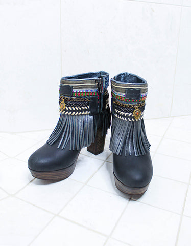Custom Made High Heel Boho Boots in Black | SIZE 38