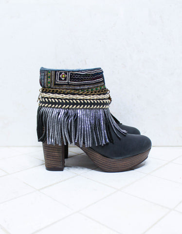 Boho High Boot Sandals - Brown