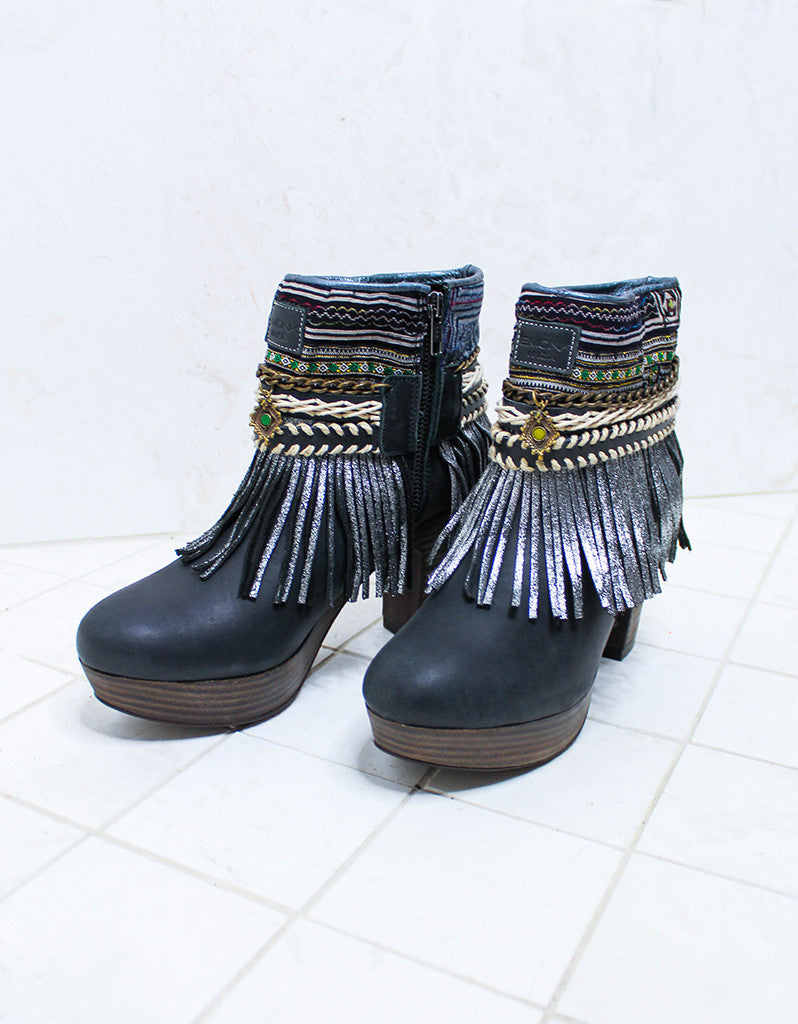 Custom Made High Heel Boho Boots in Black | SIZE 40 - SWANK - Shoes - 2