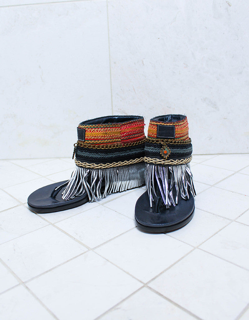 Custom Made Boho Sandals in Black | SIZE 38 - SWANK - Shoes - 2