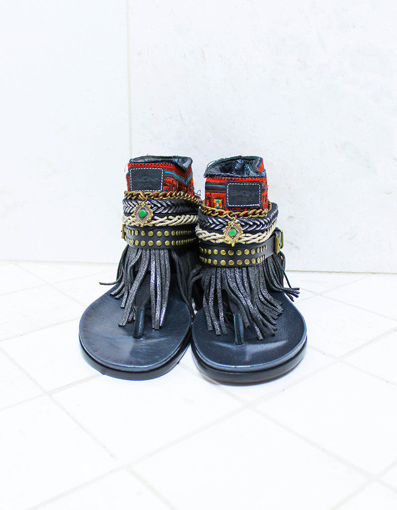 Custom Made Boho Sandals in Black | SIZE 38 - SWANK - Shoes - 3