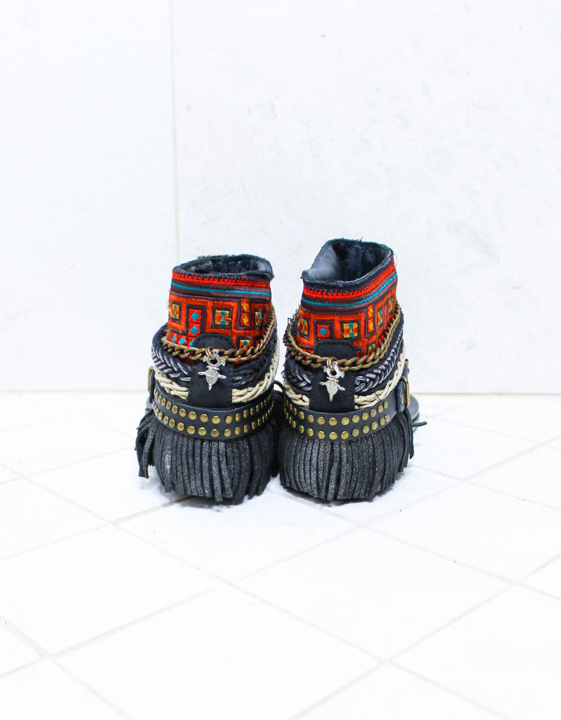 Custom Made Boho Sandals in Black | SIZE 38 - SWANK - Shoes - 5