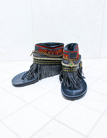 Luxury Custom Made Boho Sandals in Black | SIZE 38