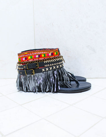 Luxury Custom Made Boho Sandals in Black | SIZE 39