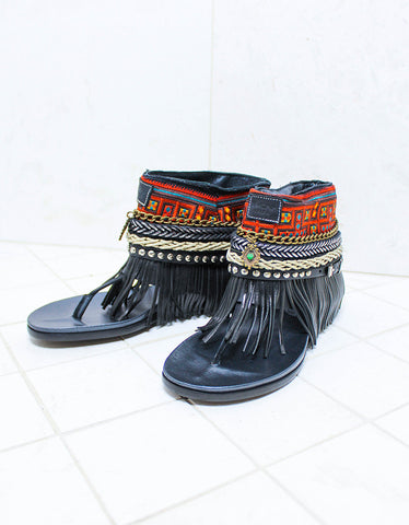 Luxury Custom Made Boho Sandals in Black | SIZE 40