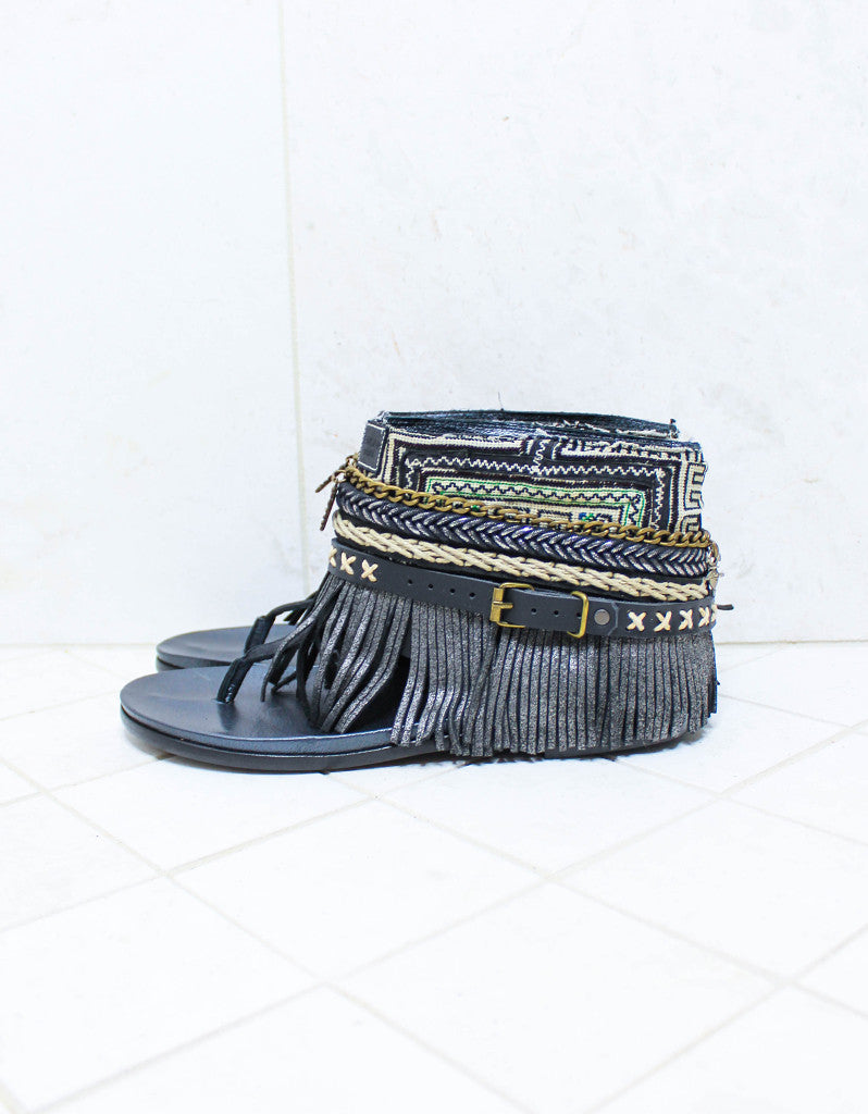 Custom Made Boho Sandals in Black | SIZE 41 - SWANK - Shoes - 5