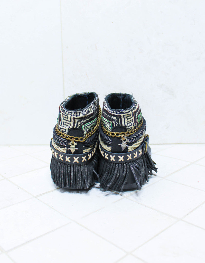 Custom Made Boho Sandals in Black | SIZE 41 - SWANK - Shoes - 4