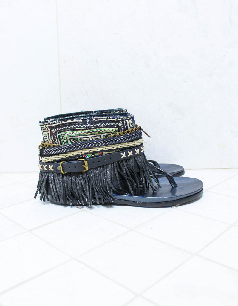 Custom Made Boho Sandals in Black | SIZE 41 - SWANK - Shoes - 1