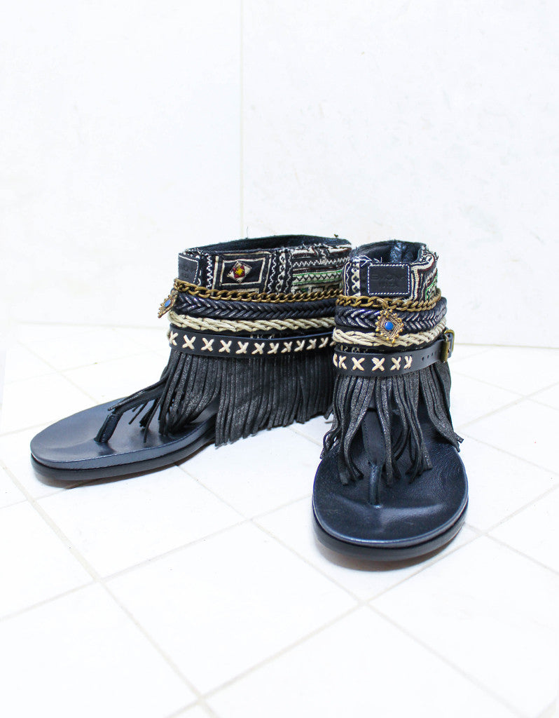 Custom Made Boho Sandals in Black | SIZE 41 - SWANK - Shoes - 2