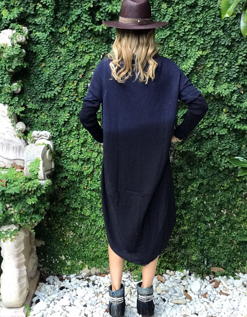 Game Changer Ombre Cocoon Cardigan in Navy/Black