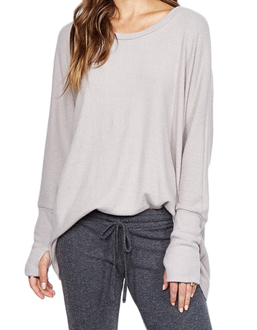 Michael Lauren Oversized Branson Draped Top in Oatmeal