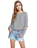 Michael Lauren Briggs Pullover in Grey Stripe