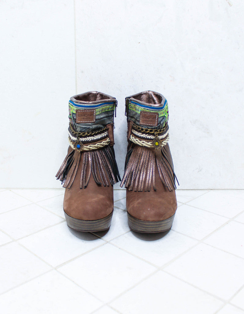 Custom Made High Heel Boho Boots in Brown | SIZE 38 - SWANK - Shoes - 4