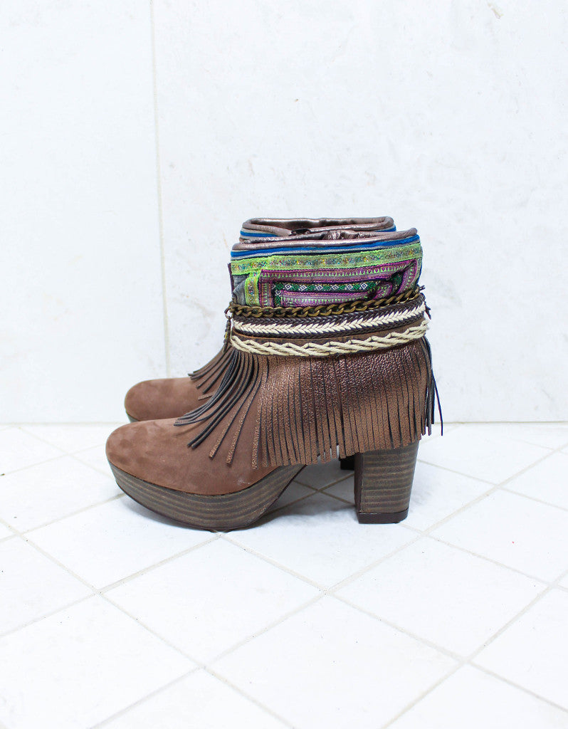 Custom Made High Heel Boho Boots in Brown | SIZE 38 - SWANK - Shoes - 5