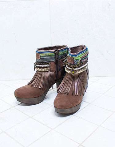 Custom Made High Heel Boho Boots in Brown | SIZE 38