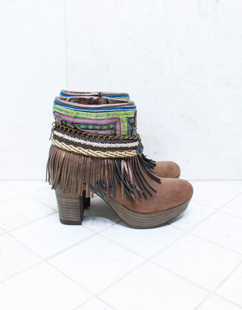 Custom Made High Heel Boho Boots in Brown | SIZE 38 - SWANK - Shoes - 1