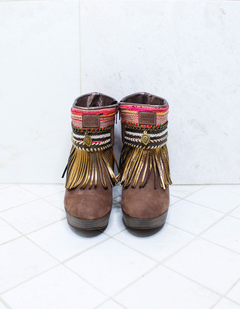 Custom Made High Heel Boho Boots in Brown | SIZE 39 - SWANK - Shoes - 3
