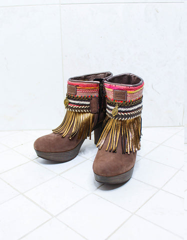 Custom Made High Heel Boho Boots in Brown | SIZE 39