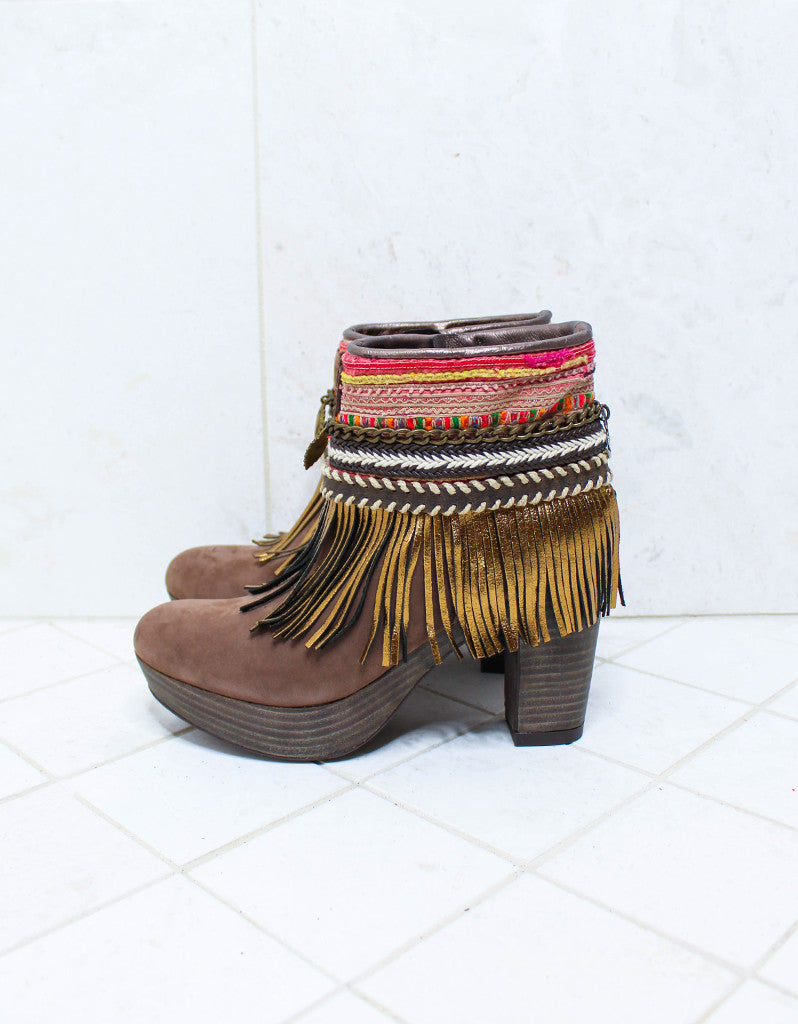 Custom Made High Heel Boho Boots in Brown | SIZE 39 - SWANK - Shoes - 6