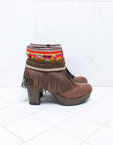 Custom Made High Heel Boho Boots in Brown | SIZE 40