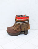 Custom Made High Heel Boho Boots in Brown | SIZE 40 - SWANK - Shoes - 4