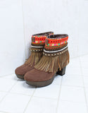 Custom Made High Heel Boho Boots in Brown | SIZE 40 - SWANK - Shoes - 5