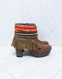 Custom Made High Heel Boho Boots in Brown | SIZE 40 - SWANK - Shoes - 1