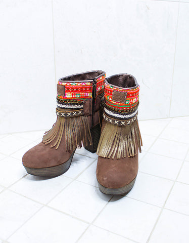 Luxury Custom Made High Heel Boho Boots in Brown | SIZE 40