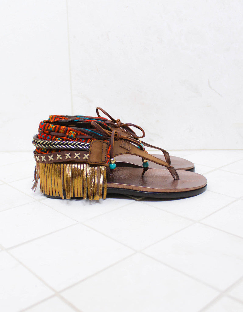 INDIE BOHO SANDALS - BROWN - SWANK - Shoes - 1