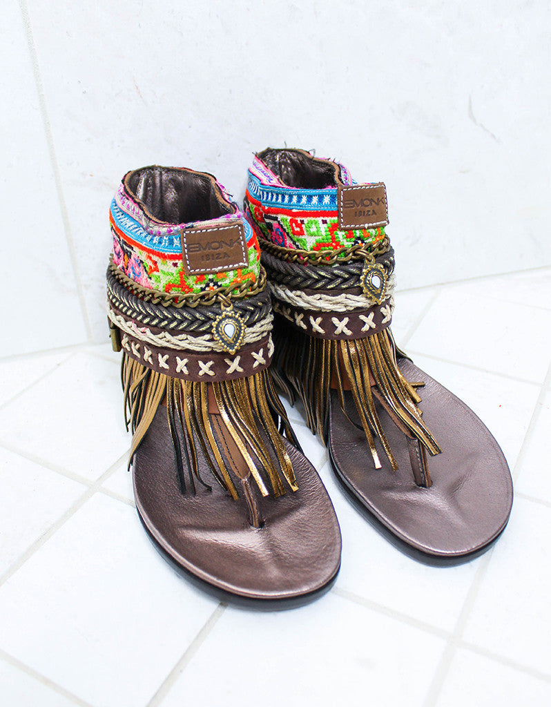 Custom Made Boho Sandals in Brown | SIZE 37 - SWANK - Shoes - 3